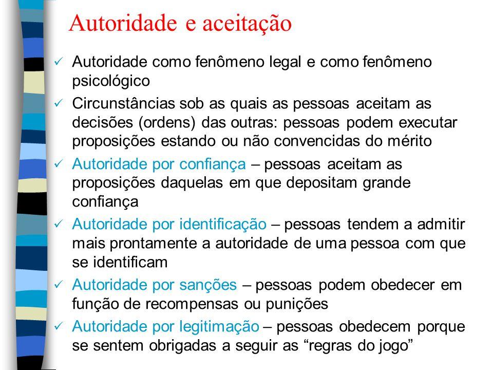 Autoridade e aceitação Autoridade como fenômeno legal e como fenômeno psicológico Circunstâncias sob as quais as pessoas aceitam as decisões (ordens)