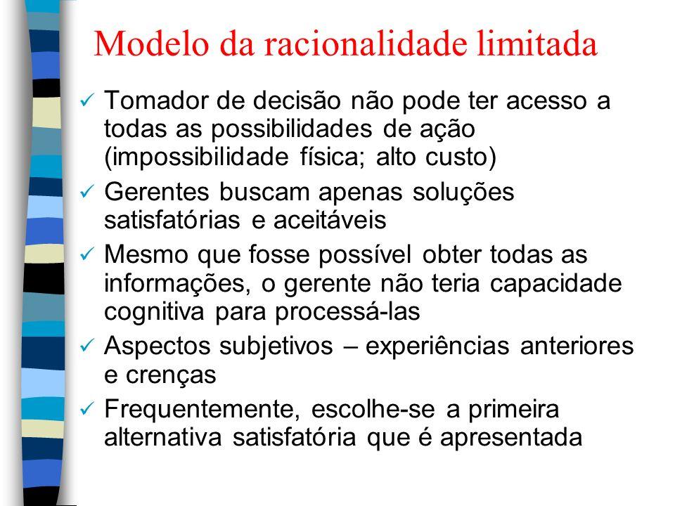 Modelo da racionalidade limitada Tomador de decisão não pode ter acesso a todas as possibilidades de ação (impossibilidade física; alto custo) Gerente
