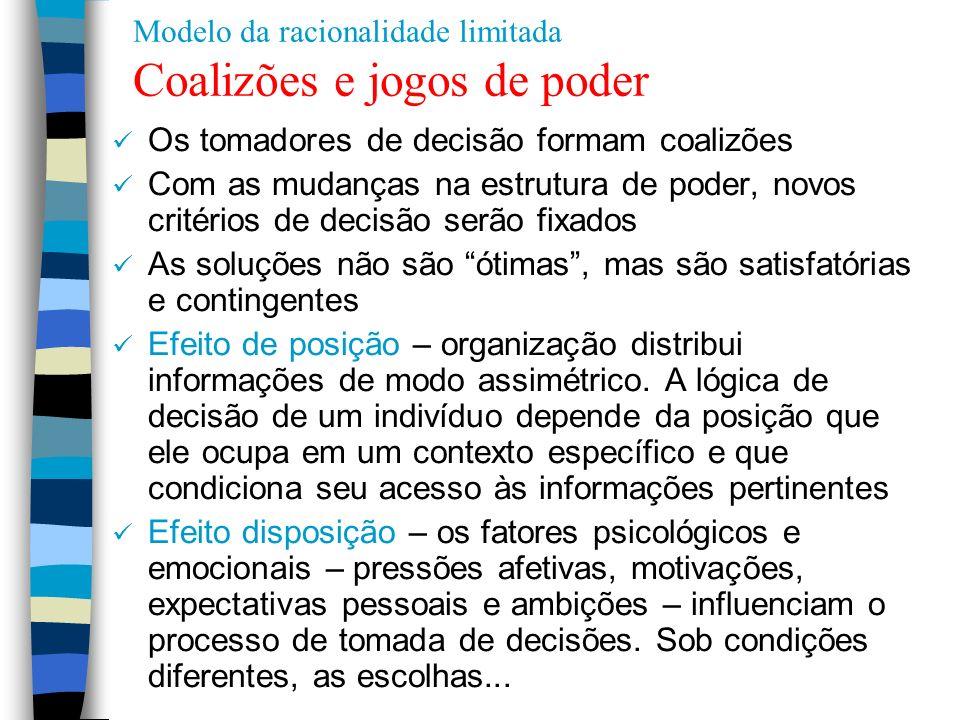 Modelo da racionalidade limitada Coalizões e jogos de poder Os tomadores de decisão formam coalizões Com as mudanças na estrutura de poder, novos crit