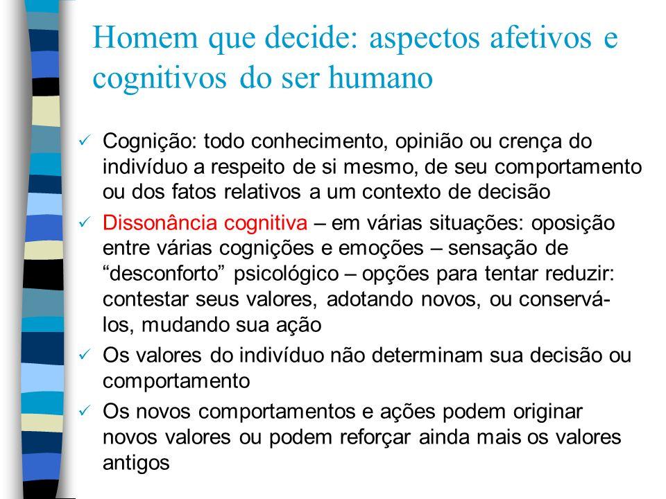 Homem que decide: aspectos afetivos e cognitivos do ser humano Cognição: todo conhecimento, opinião ou crença do indivíduo a respeito de si mesmo, de