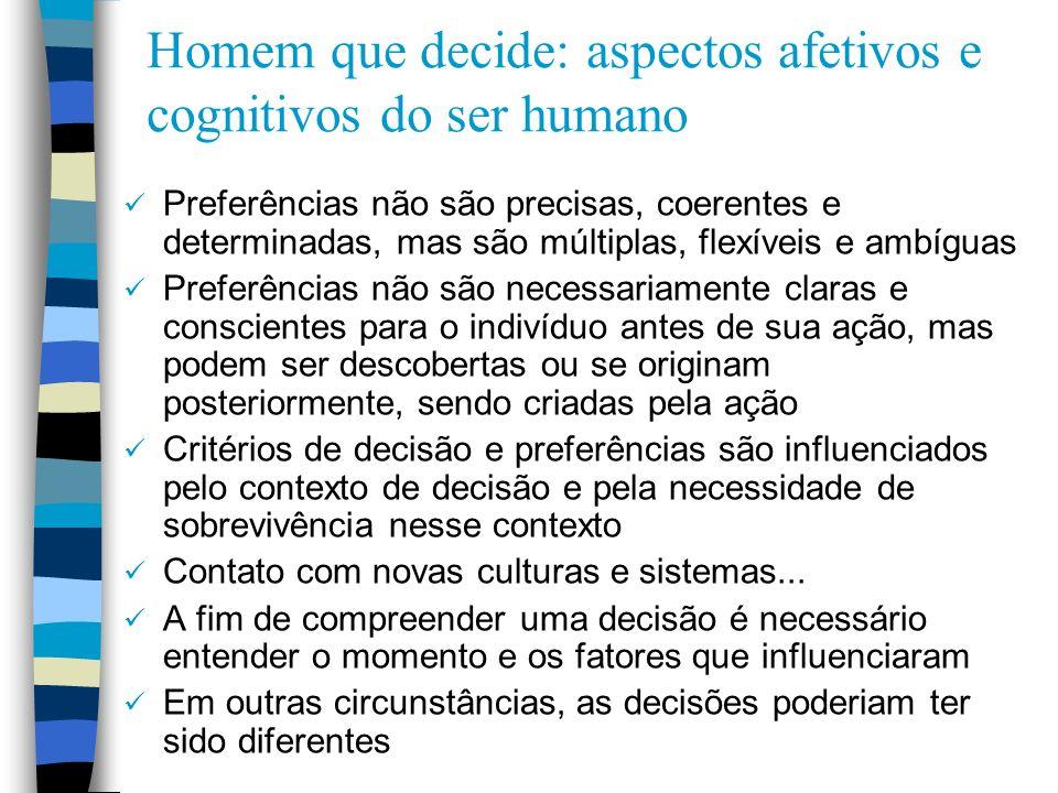 Homem que decide: aspectos afetivos e cognitivos do ser humano Preferências não são precisas, coerentes e determinadas, mas são múltiplas, flexíveis e