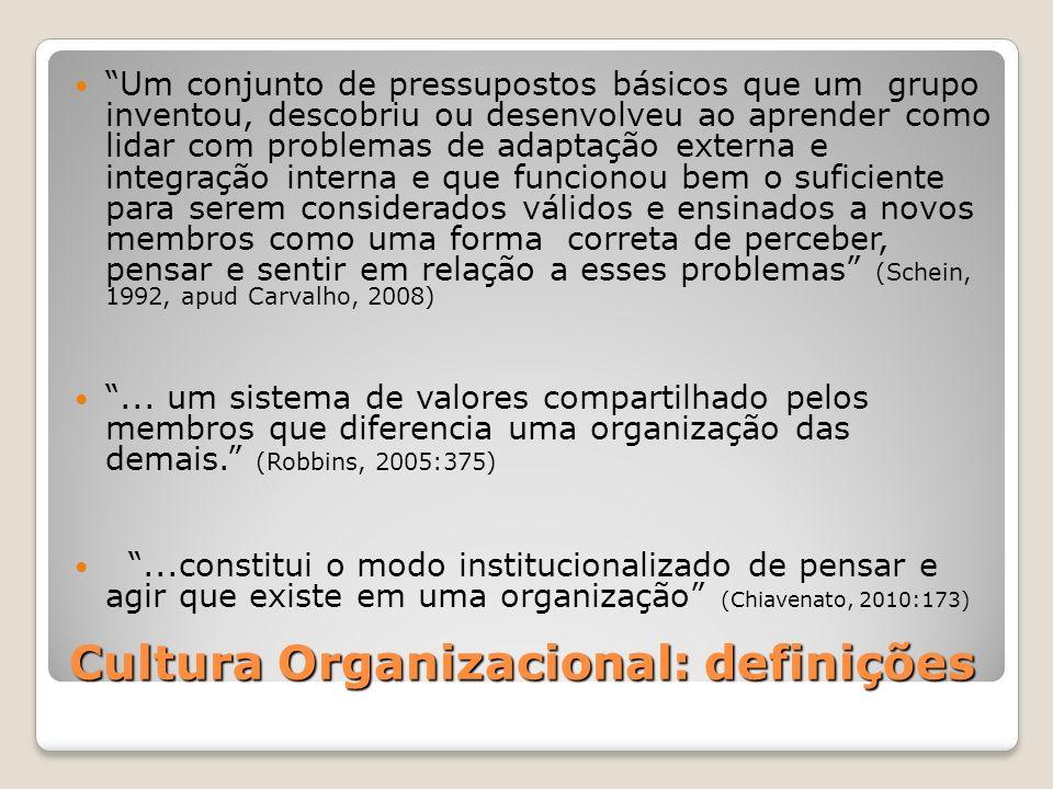 Cultura Organizacional: definições Um conjunto de pressupostos básicos que um grupo inventou, descobriu ou desenvolveu ao aprender como lidar com prob