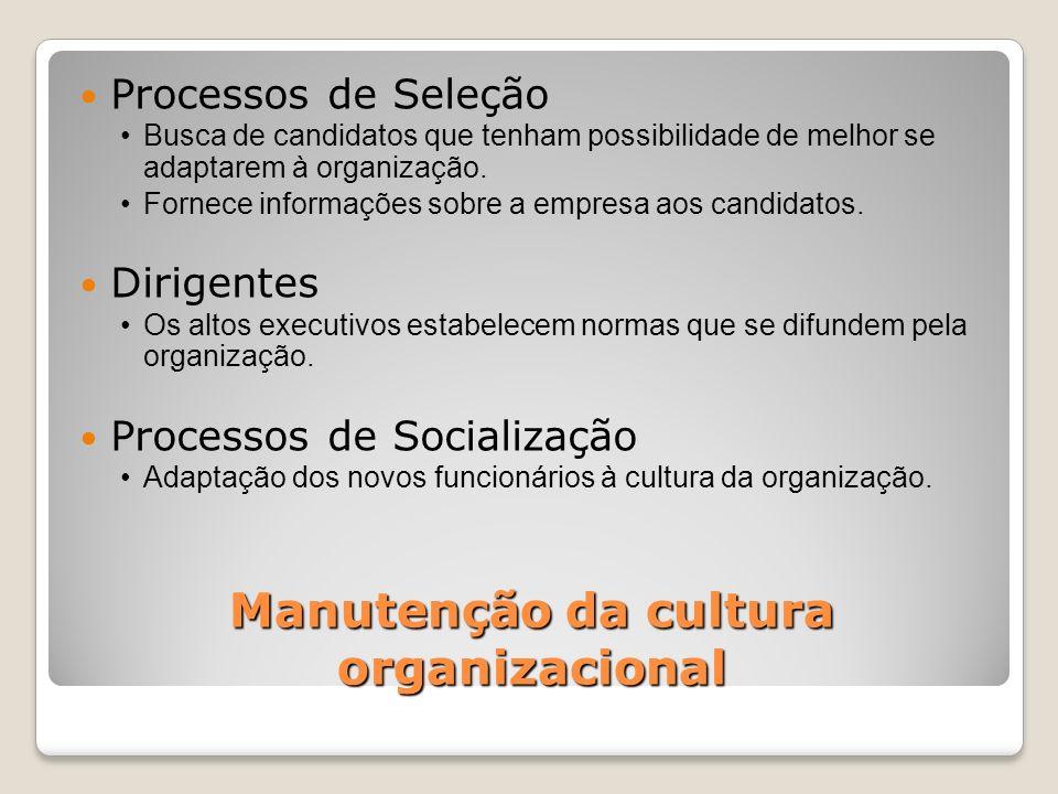 Manutenção da cultura organizacional Processos de Seleção Busca de candidatos que tenham possibilidade de melhor se adaptarem à organização. Fornece i