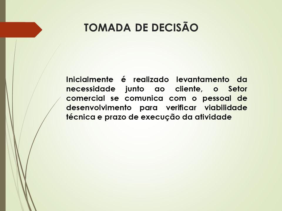TOMADA DE DECISÃO Inicialmente é realizado levantamento da necessidade junto ao cliente, o Setor comercial se comunica com o pessoal de desenvolviment