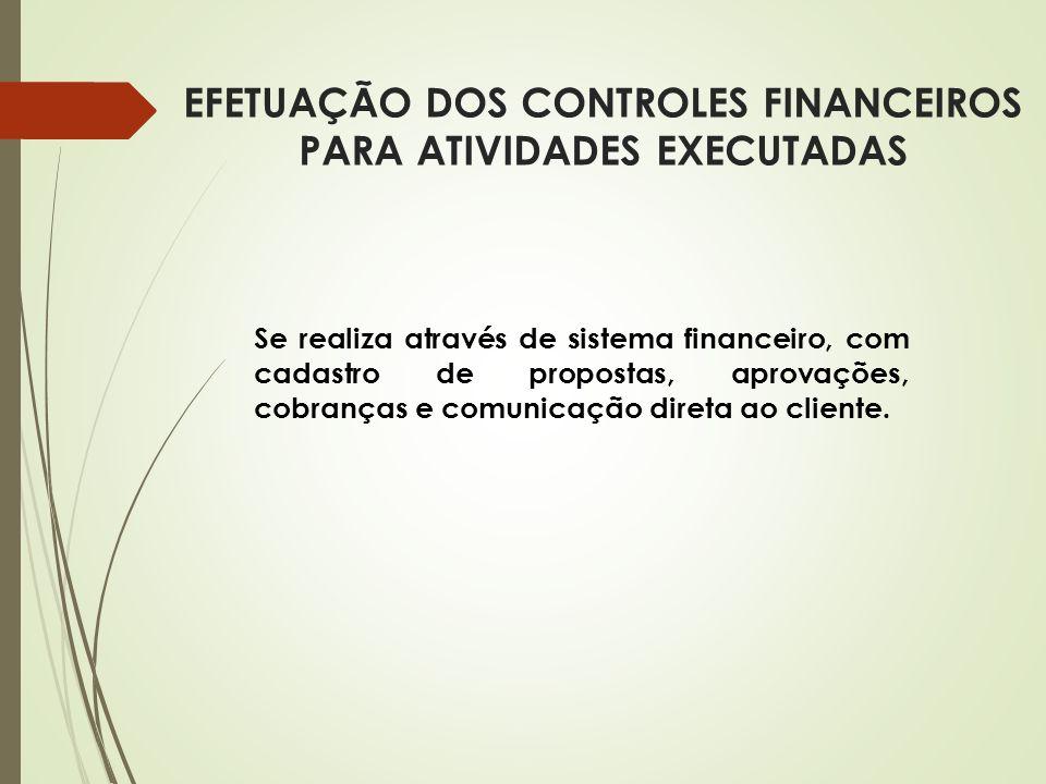 EFETUAÇÃO DOS CONTROLES FINANCEIROS PARA ATIVIDADES EXECUTADAS Se realiza através de sistema financeiro, com cadastro de propostas, aprovações, cobran