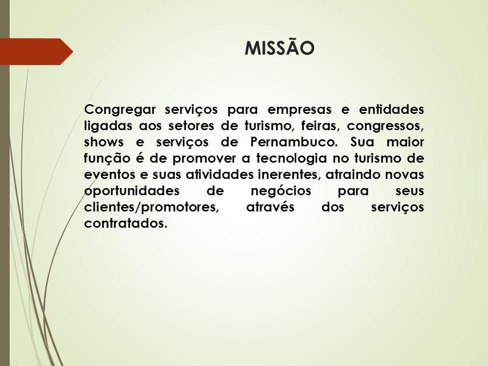 MISSÃO Congregar serviços para empresas e entidades ligadas aos setores de turismo, feiras, congressos, shows e serviços de Pernambuco. Sua maior funç