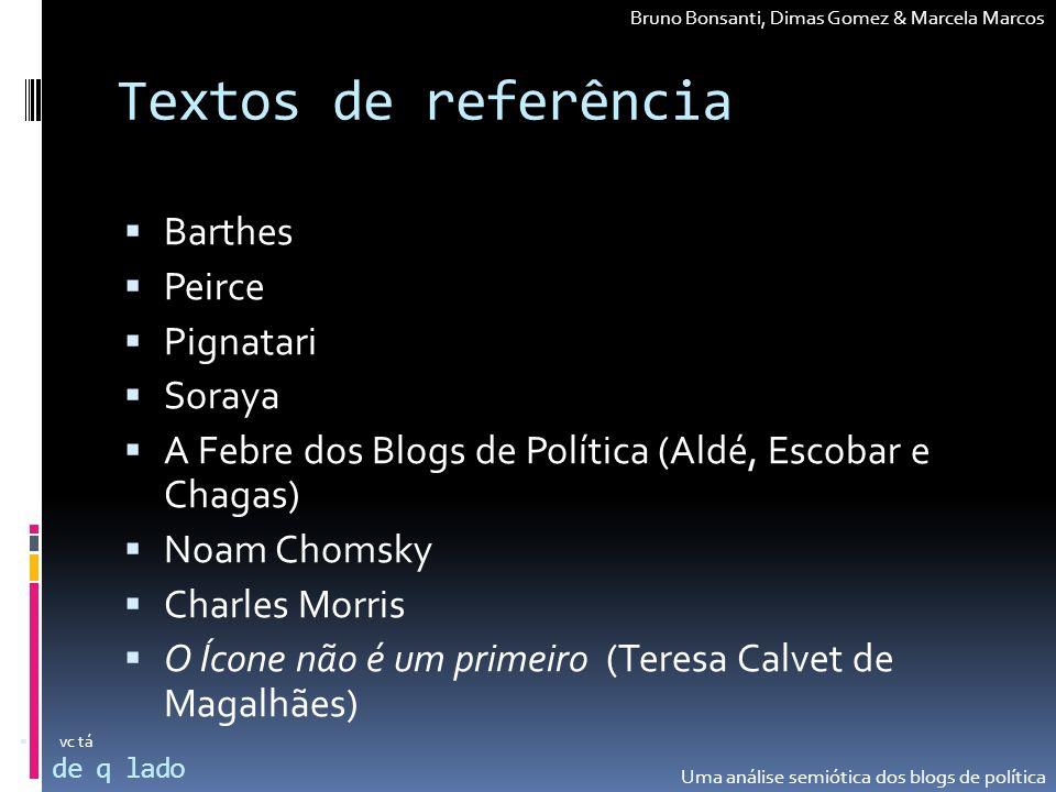 Textos de referência Barthes Peirce Pignatari Soraya A Febre dos Blogs de Política (Aldé, Escobar e Chagas) Noam Chomsky Charles Morris O Ícone não é