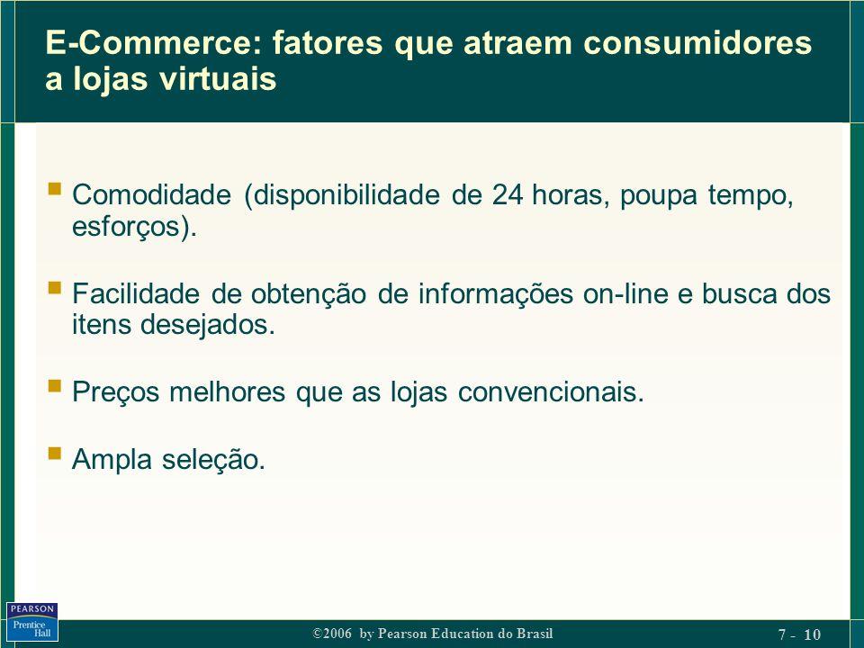 ©2006 by Pearson Education do Brasil 7 - 10 E-Commerce: fatores que atraem consumidores a lojas virtuais Comodidade (disponibilidade de 24 horas, poup