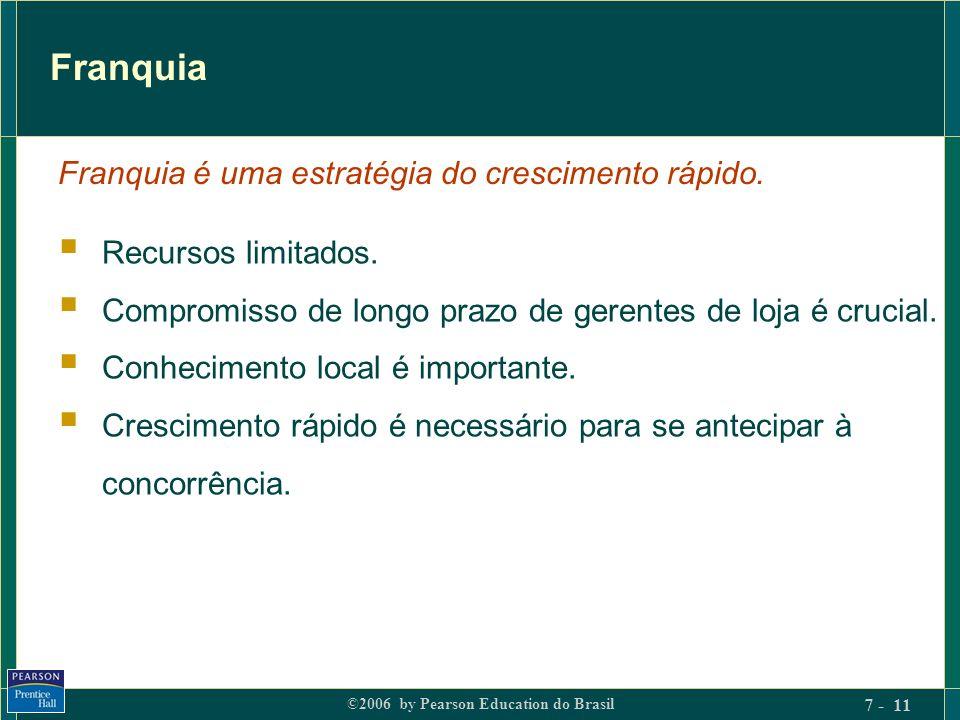 ©2006 by Pearson Education do Brasil 7 - 11 Franquia Recursos limitados. Compromisso de longo prazo de gerentes de loja é crucial. Conhecimento local