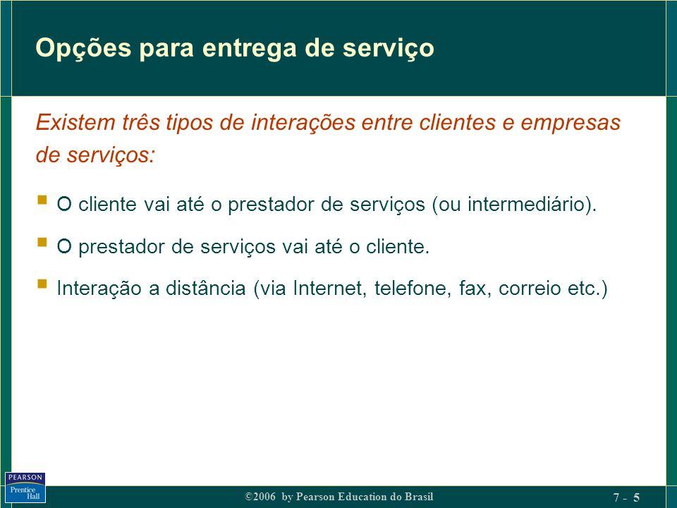 ©2006 by Pearson Education do Brasil 7 - 5 Opções para entrega de serviço O cliente vai até o prestador de serviços (ou intermediário). O prestador de