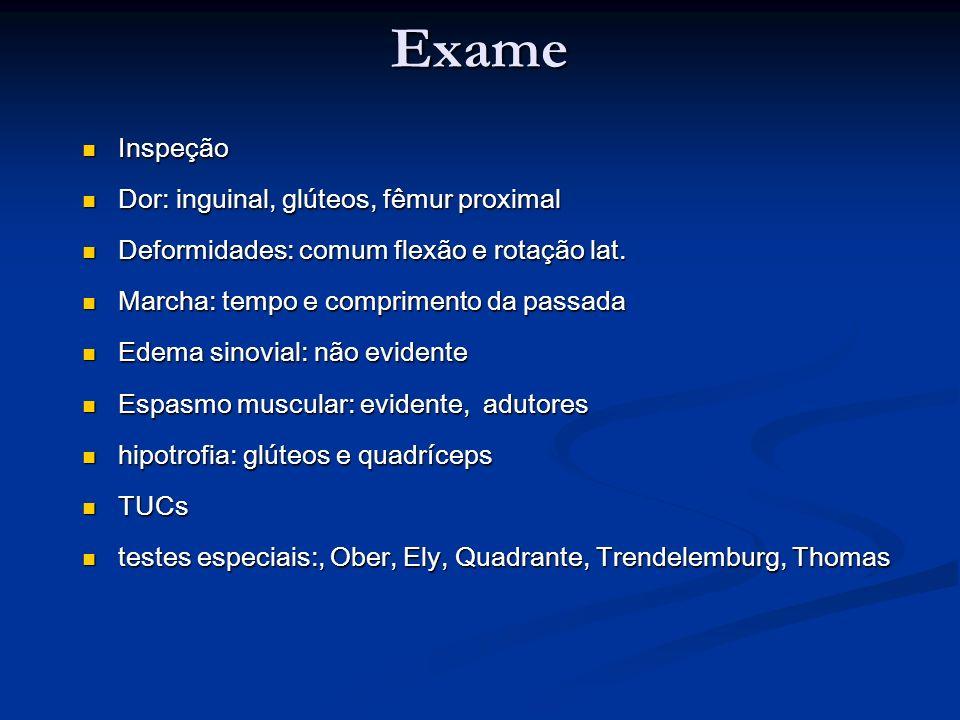 Classificação das Doenças do Quadril 1- Lesões dos tecidos moles: a) Tendinite: tendões dos mm.