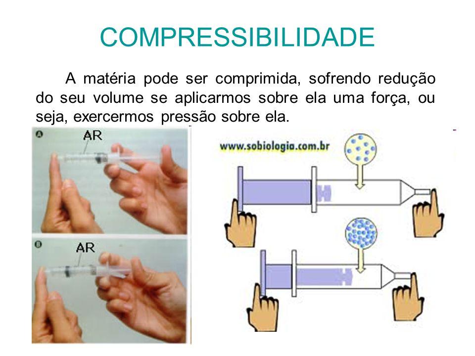 COMPRESSIBILIDADE A matéria pode ser comprimida, sofrendo redução do seu volume se aplicarmos sobre ela uma força, ou seja, exercermos pressão sobre e