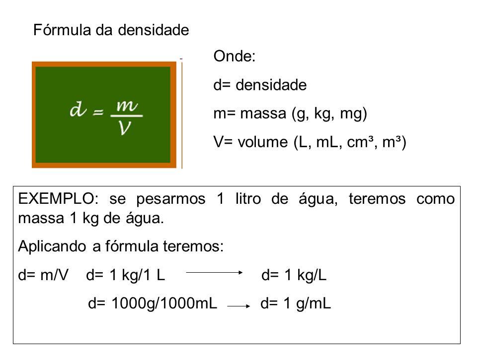 Fórmula da densidade Onde: d= densidade m= massa (g, kg, mg) V= volume (L, mL, cm³, m³) EXEMPLO: se pesarmos 1 litro de água, teremos como massa 1 kg