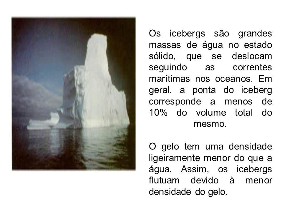 Os icebergs são grandes massas de água no estado sólido, que se deslocam seguindo as correntes marítimas nos oceanos. Em geral, a ponta do iceberg cor