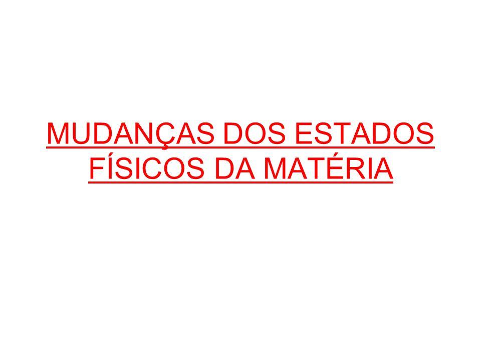 MUDANÇAS DOS ESTADOS FÍSICOS DA MATÉRIA