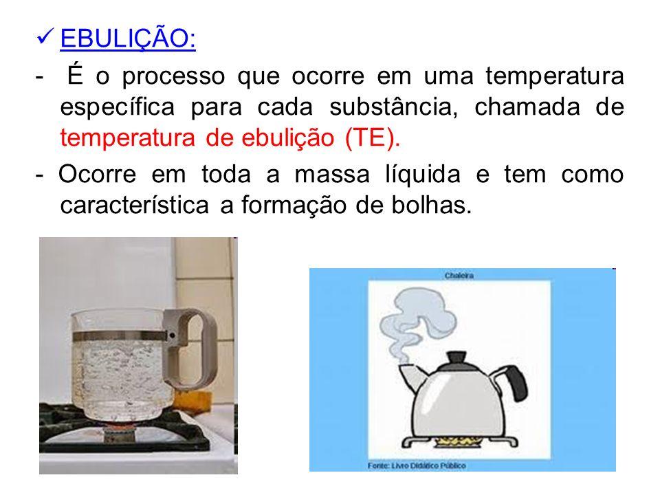 EBULIÇÃO: - É o processo que ocorre em uma temperatura específica para cada substância, chamada de temperatura de ebulição (TE). - Ocorre em toda a ma