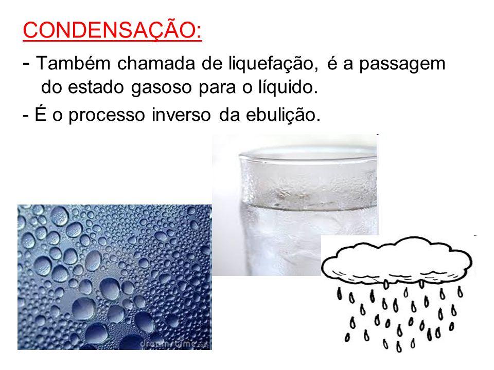 CONDENSAÇÃO: - Também chamada de liquefação, é a passagem do estado gasoso para o líquido. - É o processo inverso da ebulição.