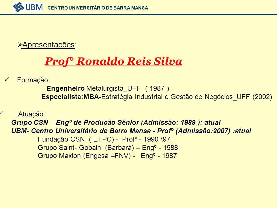 CENTRO UNIVERSITÁRIO DE BARRA MANSA Prof° Ronaldo Reis Silva Técnicas e Filosofias aplicadas para se obter Vantagens Competitivas em Qualidade
