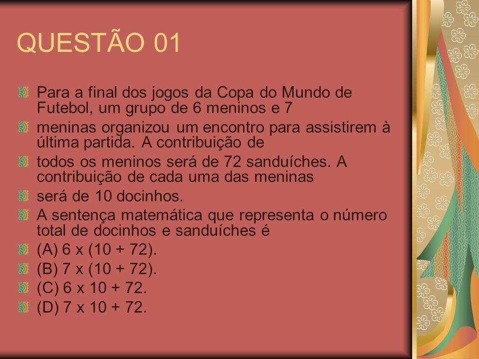 QUESTÃO 01 Para a final dos jogos da Copa do Mundo de Futebol, um grupo de 6 meninos e 7 meninas organizou um encontro para assistirem à última partid