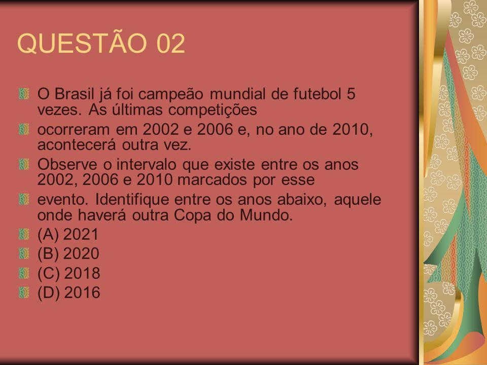 QUESTÃO 02 O Brasil já foi campeão mundial de futebol 5 vezes. As últimas competições ocorreram em 2002 e 2006 e, no ano de 2010, acontecerá outra vez