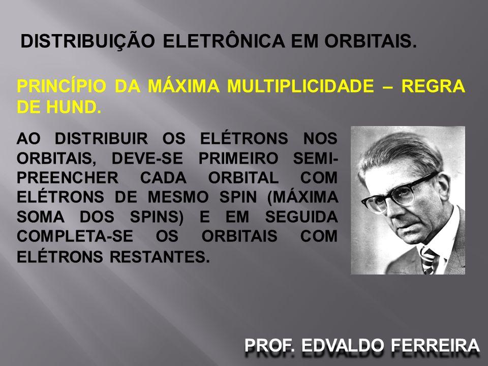 PROF. EDVALDO FERREIRA DISTRIBUIÇÃO ELETRÔNICA EM ORBITAIS. PRINCÍPIO DA MÁXIMA MULTIPLICIDADE – REGRA DE HUND. AO DISTRIBUIR OS ELÉTRONS NOS ORBITAIS