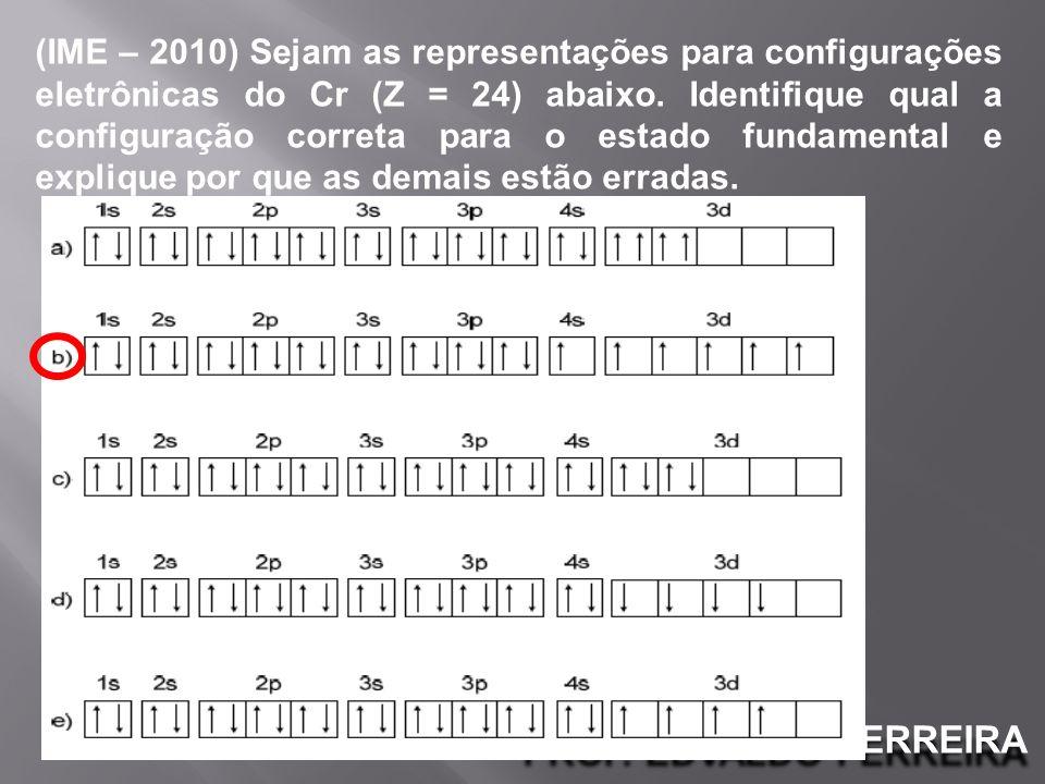 PROF. EDVALDO FERREIRA (IME – 2010) Sejam as representações para configurações eletrônicas do Cr (Z = 24) abaixo. Identifique qual a configuração corr