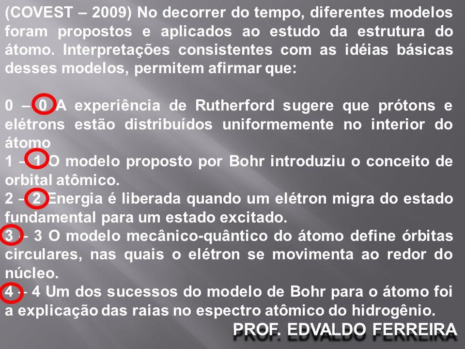PROF. EDVALDO FERREIRA (COVEST – 2009) No decorrer do tempo, diferentes modelos foram propostos e aplicados ao estudo da estrutura do átomo. Interpret