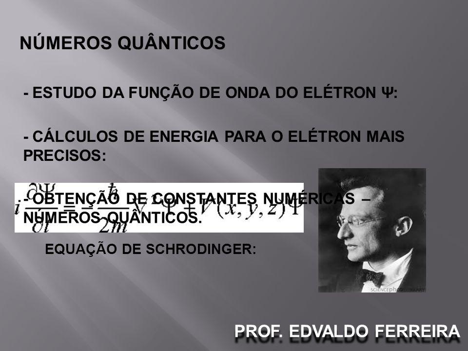 PROF. EDVALDO FERREIRA NÚMEROS QUÂNTICOS - ESTUDO DA FUNÇÃO DE ONDA DO ELÉTRON Ψ: - CÁLCULOS DE ENERGIA PARA O ELÉTRON MAIS PRECISOS: EQUAÇÃO DE SCHRO