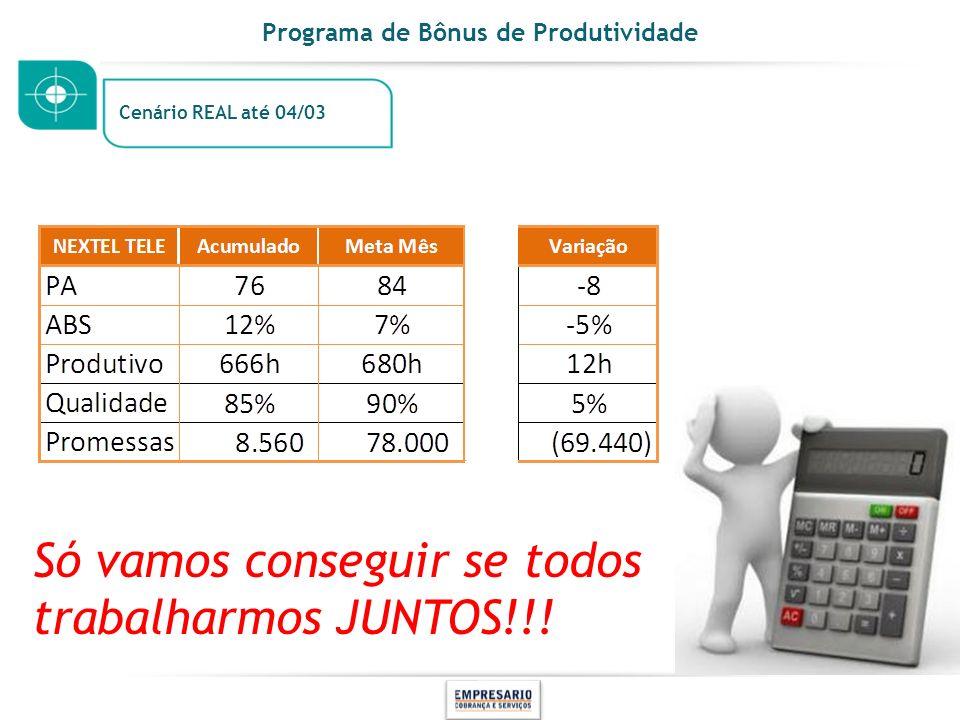 Programa de Bônus de Produtividade Cenário REAL até 04/03 Só vamos conseguir se todos trabalharmos JUNTOS!!!