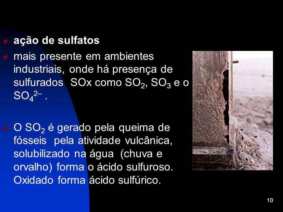 ação de sulfatos mais presente em ambientes industriais, onde há presença de sulfurados SOx como SO 2, SO 3 e o SO 4 2–. O SO 2 é gerado pela queima d