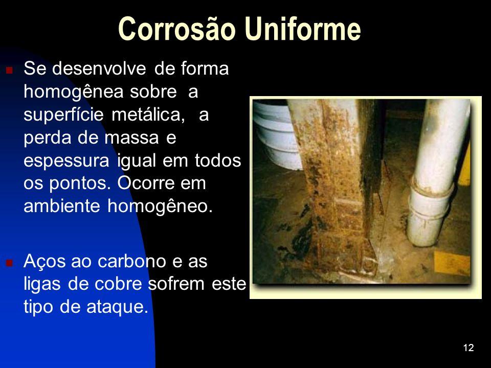 Corrosão Uniforme Se desenvolve de forma homogênea sobre a superfície metálica, a perda de massa e espessura igual em todos os pontos. Ocorre em ambie