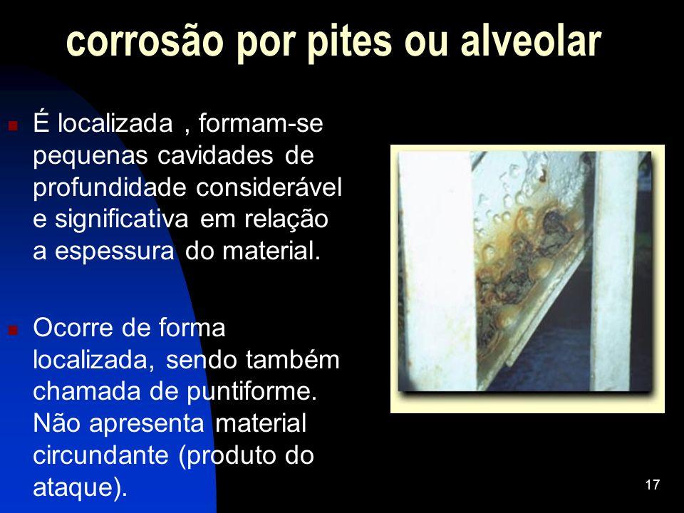 corrosão por pites ou alveolar É localizada, formam-se pequenas cavidades de profundidade considerável e significativa em relação a espessura do mater
