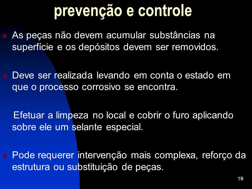 prevenção e controle As peças não devem acumular substâncias na superfície e os depósitos devem ser removidos. Deve ser realizada levando em conta o e