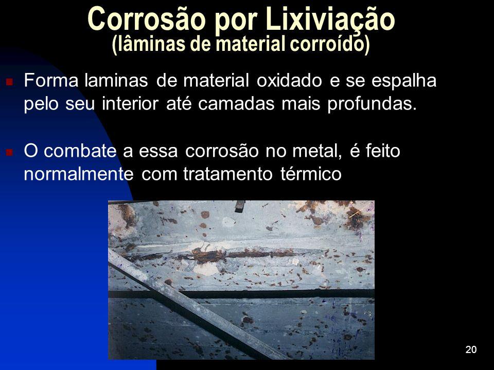 Corrosão por Lixiviação (lâminas de material corroído) Forma laminas de material oxidado e se espalha pelo seu interior até camadas mais profundas. O