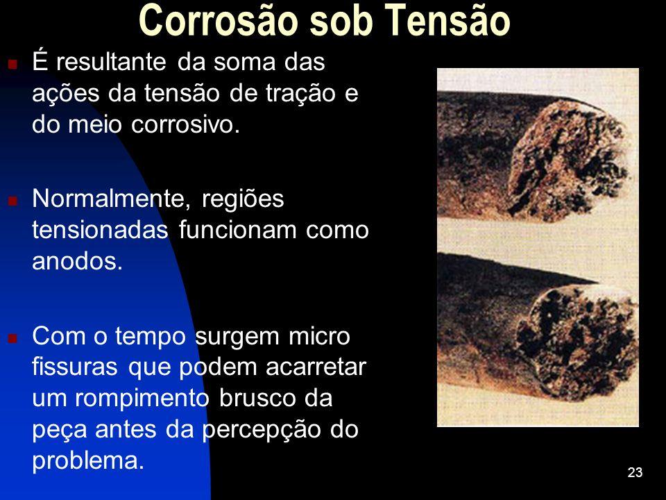 Corrosão sob Tensão É resultante da soma das ações da tensão de tração e do meio corrosivo. Normalmente, regiões tensionadas funcionam como anodos. Co