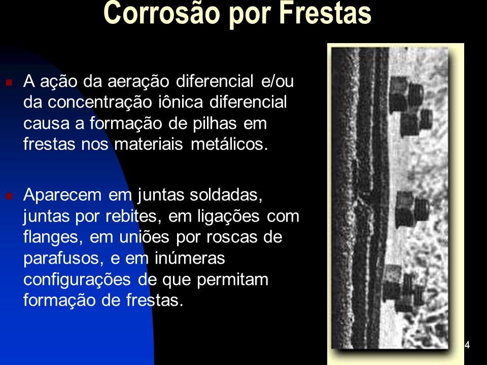 Corrosão por Frestas A ação da aeração diferencial e/ou da concentração iônica diferencial causa a formação de pilhas em frestas nos materiais metálic
