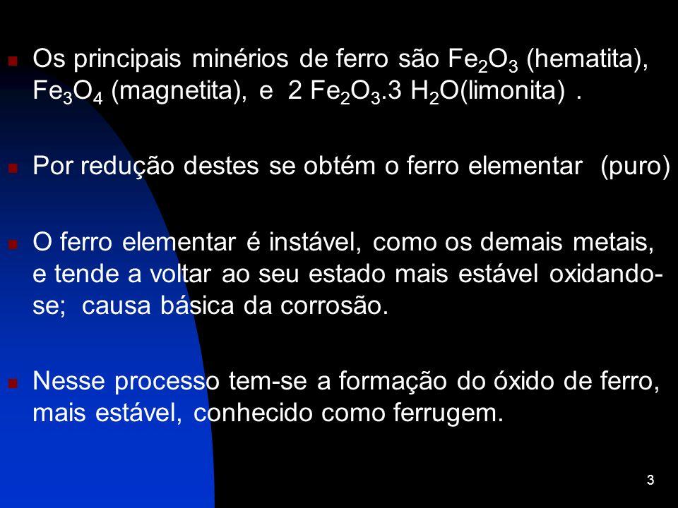 Os principais minérios de ferro são Fe 2 O 3 (hematita), Fe 3 O 4 (magnetita), e 2 Fe 2 O 3.3 H 2 O(limonita). Por redução destes se obtém o ferro ele