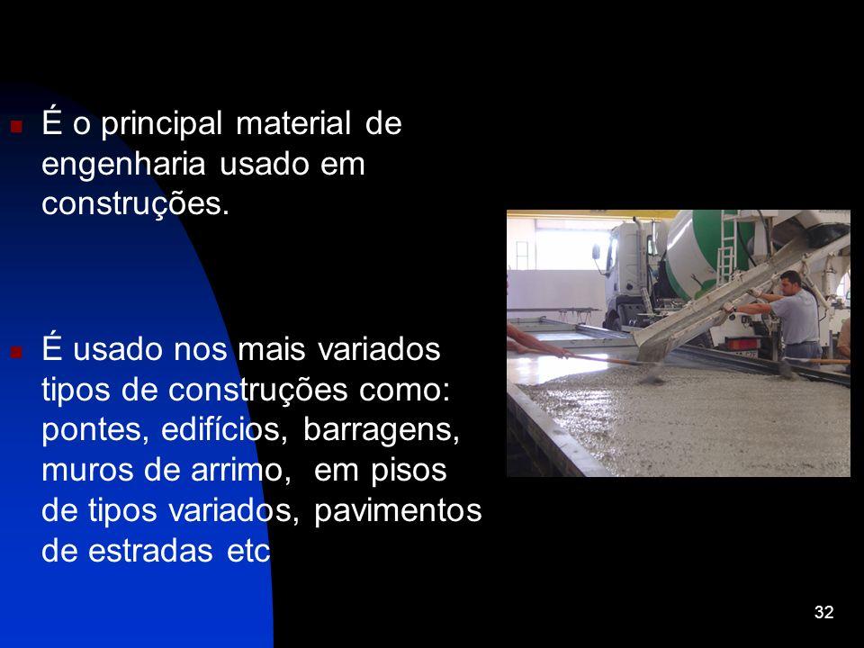 É o principal material de engenharia usado em construções. É usado nos mais variados tipos de construções como: pontes, edifícios, barragens, muros de