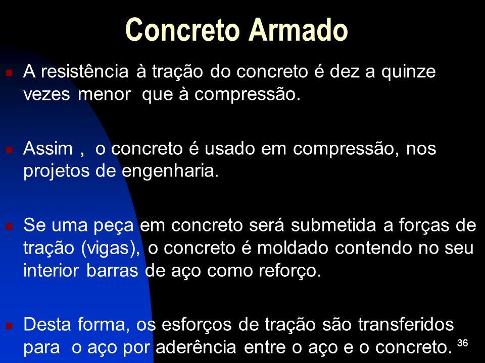 A resistência à tração do concreto é dez a quinze vezes menor que à compressão. Assim, o concreto é usado em compressão, nos projetos de engenharia. S