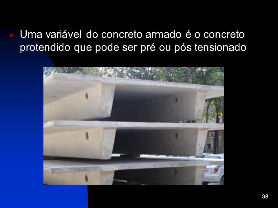 Uma variável do concreto armado é o concreto protendido que pode ser pré ou pós tensionado 38