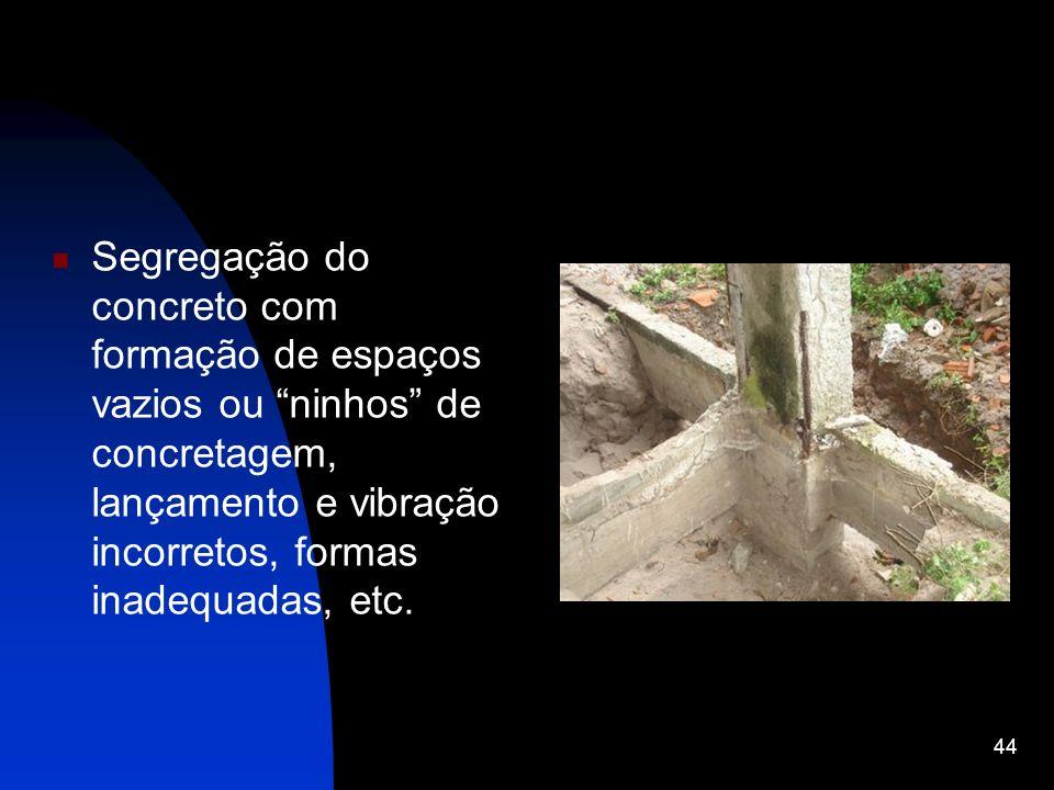 Segregação do concreto com formação de espaços vazios ou ninhos de concretagem, lançamento e vibração incorretos, formas inadequadas, etc. 44