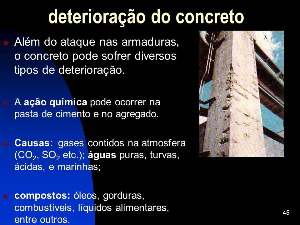 Além do ataque nas armaduras, o concreto pode sofrer diversos tipos de deterioração. A ação química pode ocorrer na pasta de cimento e no agregado. Ca