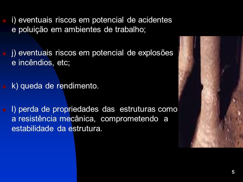 i) eventuais riscos em potencial de acidentes e poluição em ambientes de trabalho; j) eventuais riscos em potencial de explosões e incêndios, etc; k)