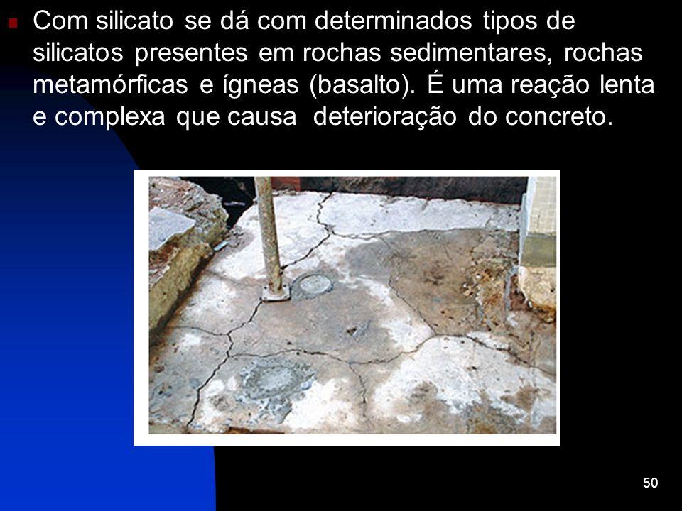 Com silicato se dá com determinados tipos de silicatos presentes em rochas sedimentares, rochas metamórficas e ígneas (basalto). É uma reação lenta e
