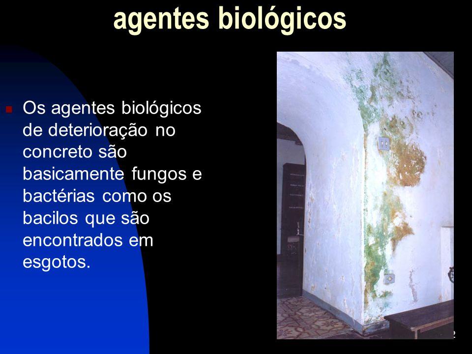 agentes biológicos Os agentes biológicos de deterioração no concreto são basicamente fungos e bactérias como os bacilos que são encontrados em esgotos