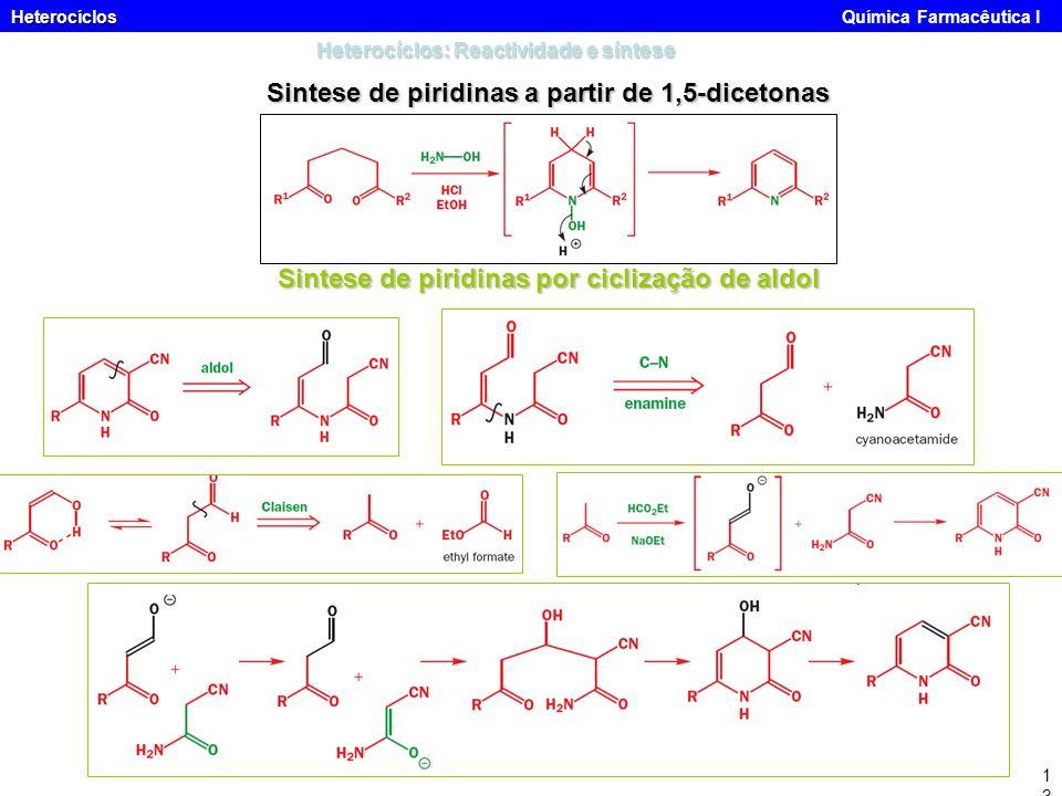 Heterocíclos Heterocíclos Química Farmacêutica I13 Heterocíclos: Reactividade e síntese Sintese de piridinas a partir de 1,5-dicetonas Sintese de piri