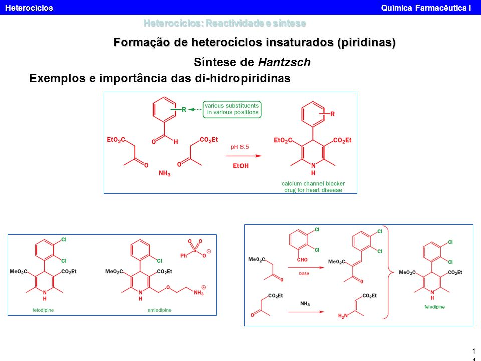 Heterocíclos Heterocíclos Química Farmacêutica I14 Heterocíclos: Reactividade e síntese Formação de heterocíclos insaturados (piridinas) Síntese de Ha
