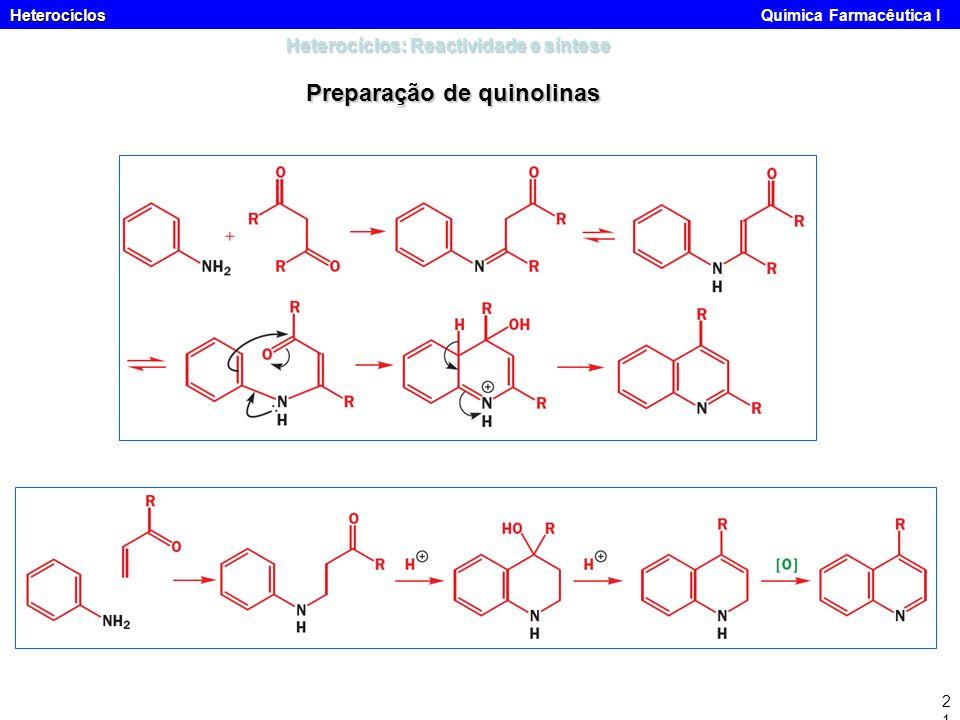 Heterocíclos Heterocíclos Química Farmacêutica I21 Heterocíclos: Reactividade e síntese Preparação de quinolinas