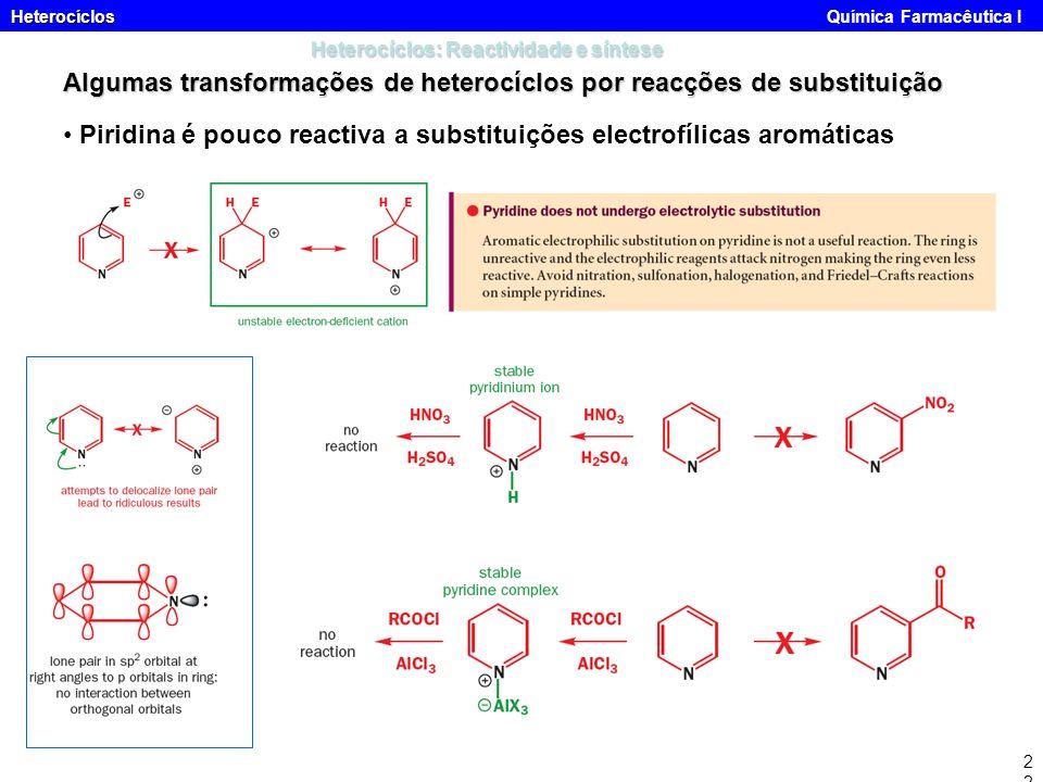 Heterocíclos Heterocíclos Química Farmacêutica I22 Heterocíclos: Reactividade e síntese Algumas transformações de heterocíclos por reacções de substit