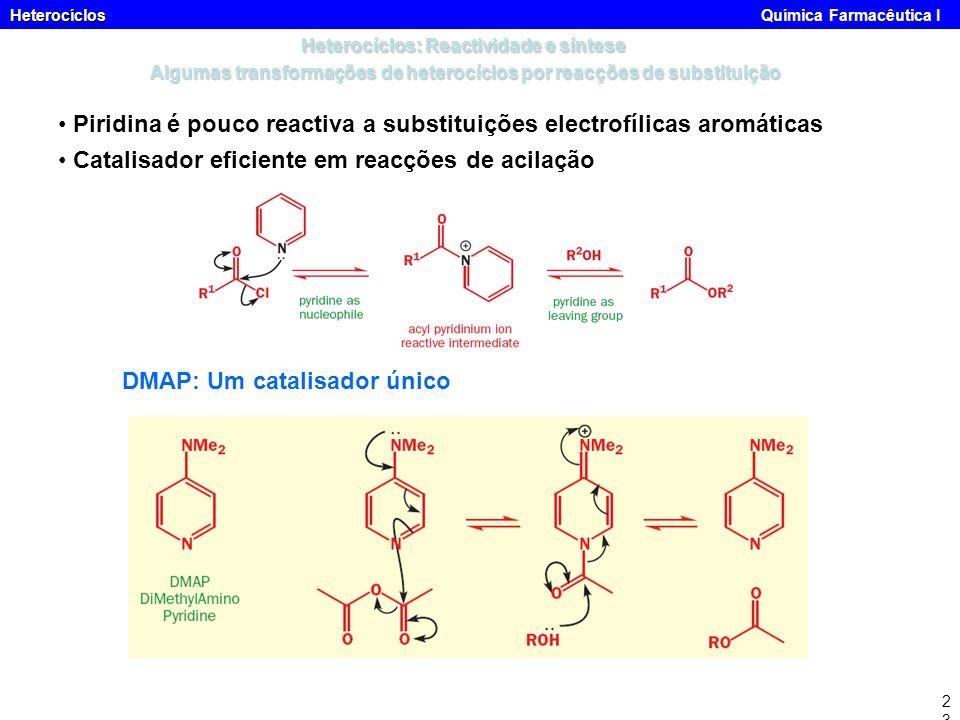 Heterocíclos Heterocíclos Química Farmacêutica I23 Heterocíclos: Reactividade e síntese Algumas transformações de heterocíclos por reacções de substit